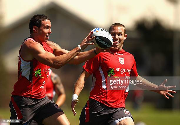 Darius Boyd and Ben Hornby of the Dragons train during a St George Illawarra Dragons NRL training session at WIN Jubilee Stadium on September 30 2010...