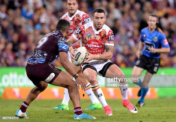 Darius Boyd of the Broncos runs with the ball during the round 10 NRL match between the Manly Sea Eagles and the Brisbane Broncos at Suncorp Stadium...