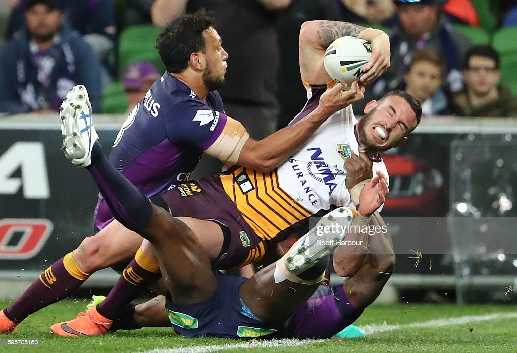 Darius Boyd of the Broncos scores a try during the round 25 NRL match between the Melbourne Storm and the Brisbane Broncos at AAMI Park on August 26, 2016 in Melbourne, Australia.