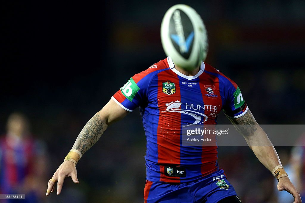 <a gi-track='captionPersonalityLinkClicked' href=/galleries/search?phrase=Darius+Boyd&family=editorial&specificpeople=574047 ng-click='$event.stopPropagation()'>Darius Boyd</a> of the Knights chases the ball during the round seven NRL match between the Newcastle Knights and the Brisbane Broncos at Hunter Stadium on April 18, 2014 in Newcastle, Australia.