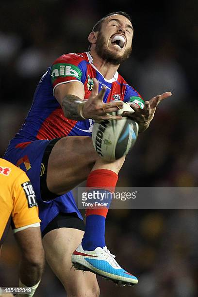 Darius Boyd of the Knightsattempts to catch a high ball during the round seven NRL match between the Newcastle Knights and the Brisbane Broncos at...