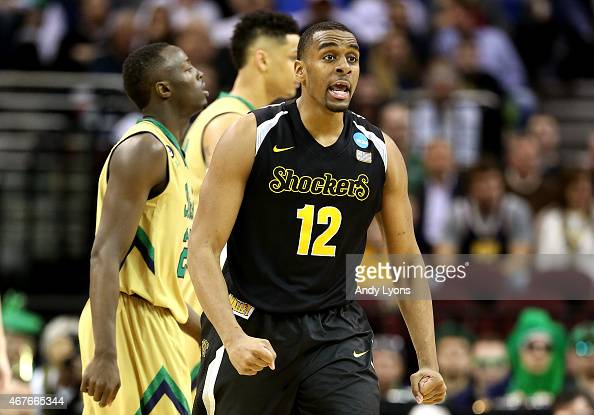 Darius Carter of the Wichita State Shockers reacts after taking the lead in the second half against the Notre Dame Fighting Irish during the Midwest...