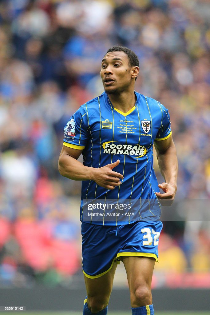 Darius Charles of AFC Wimbledon during the Sky Bet League Two Play Off Final between Plymouth Argyle and AFC Wimbledon at Wembley Stadium on May 30, 2016 in London, England.