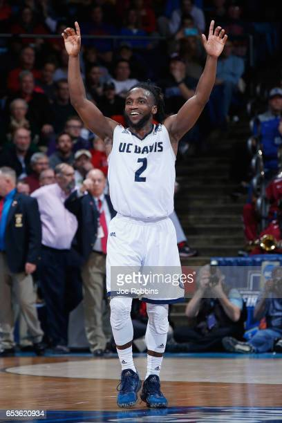 Darius Graham of the UC Davis Aggies celebrates defeating the North Carolina Central Eagles 6763 during the First Four game in the 2017 NCAA Men's...