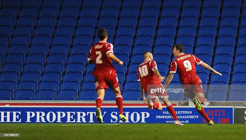 Darius Henderson of Nottingham Forest celebrates after scoring during the Sky Bet Championship match between Brighton & Hove Albion and Nottingham Forest at Amex Stadium on October 5, 2013 in Brighton, England.