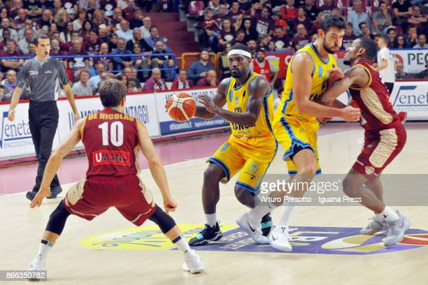 Darius Johnson Odom and Giampaolo Ricci of Vanoli competes with Andrea De Nicolao and MarQuez Haynes of Umana during the LBA LegaBasket of Serie A...