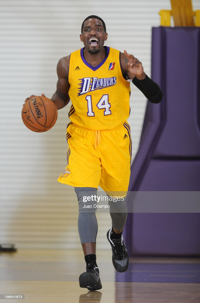 Darius Johnson-Odom #14 of the Los Angeles D-Fenders yells out to his teammates during the game against the Sioux Falls Skyforce on January 5, 2013 at Toyota Sports Center in El Segundo, California.