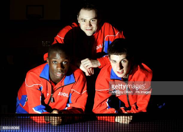 Darius Knight Andrew Rushton and Daniel Reed of England during the India Table Tennis Tour Southall London