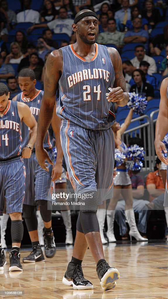 <a gi-track='captionPersonalityLinkClicked' href=/galleries/search?phrase=Darius+Miles&family=editorial&specificpeople=201702 ng-click='$event.stopPropagation()'>Darius Miles</a> #24 of the Charlotte Bobcats runs on the court during a game against the Orlando Magic on October 14, 2010 at Amway Center in Orlando, Florida.
