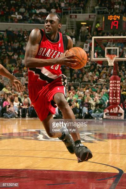 Darius Miles of the Portland Trail Blazers drives the lane on the Cleveland Cavaliers March 17 2006 at The Quicken Loans Arena in Cleveland Ohio NOTE...