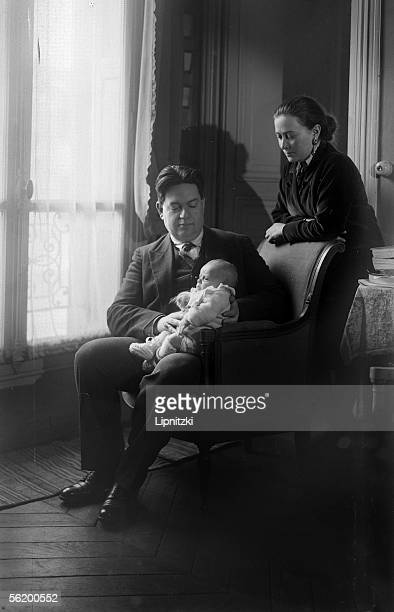 Darius Milhaud French composer his wife Madeleine and their son Daniel