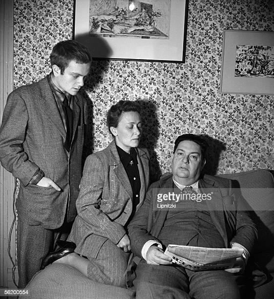 Darius Milhaud French composer his wife Madeleine and their son Daniel France september 1947