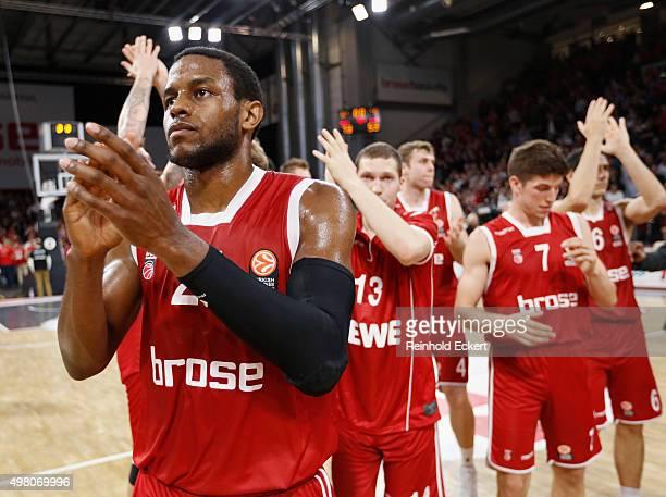 Darius Miller #21 of Brose Baskets Bamberg after the Turkish Airlines Euroleague Regular Season Round 6 game between Brose Baskets Bamberg v Unicaja...