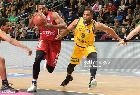 Darius Miller of Brose Bamberg and Tekele Cotton of the MHP Riesen Ludwigsburg during the game between the MHP RIESEN Ludwigsburg and the Brose...