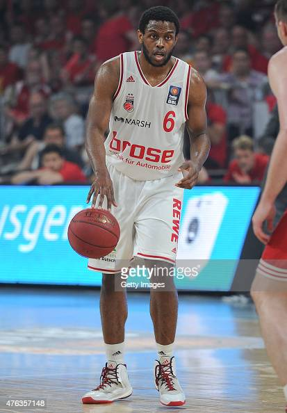 Darius Miller of Brose Baskets Bamberg dribbles the ball during Game One of the 2015 BBL Finals at Brose Arena on June 7 2015 in Bamberg Germany