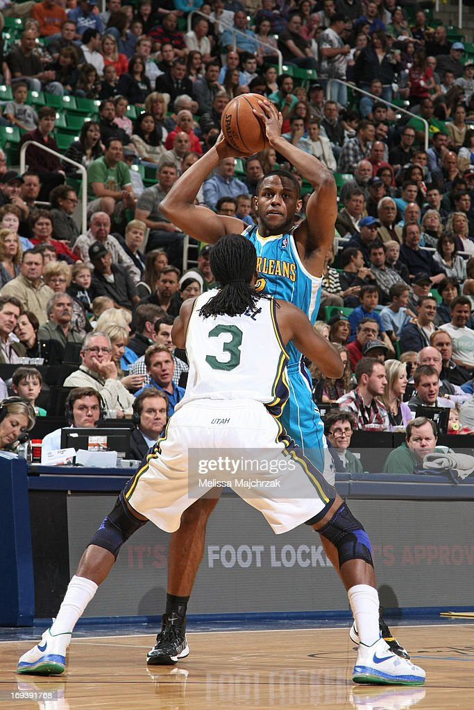 <a gi-track='captionPersonalityLinkClicked' href=/galleries/search?phrase=Darius+Miller&family=editorial&specificpeople=5590631 ng-click='$event.stopPropagation()'>Darius Miller</a> #2 of the New Orleans Hornets looks to pass the ball against <a gi-track='captionPersonalityLinkClicked' href=/galleries/search?phrase=DeMarre+Carroll&family=editorial&specificpeople=784686 ng-click='$event.stopPropagation()'>DeMarre Carroll</a> #3 of the Utah Jazz at Energy Solutions Arena on April 5, 2013 in Salt Lake City, Utah.