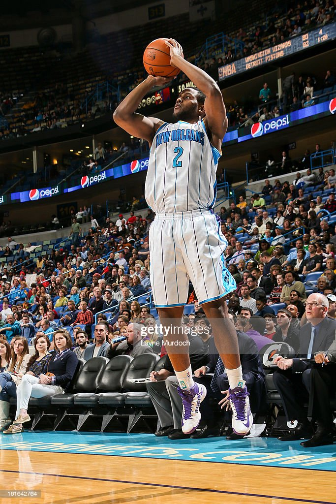 Darius Miller #2 of the New Orleans Hornets shoots a three-pointer against the Portland Trail Blazers on February 13, 2013 at the New Orleans Arena in New Orleans, Louisiana.