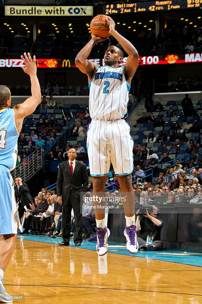 Darius Miller #2 of the New Orleans Hornets shoots a three-pointer against the Denver Nuggets on March 25, 2013 at the New Orleans Arena in New Orleans, Louisiana.