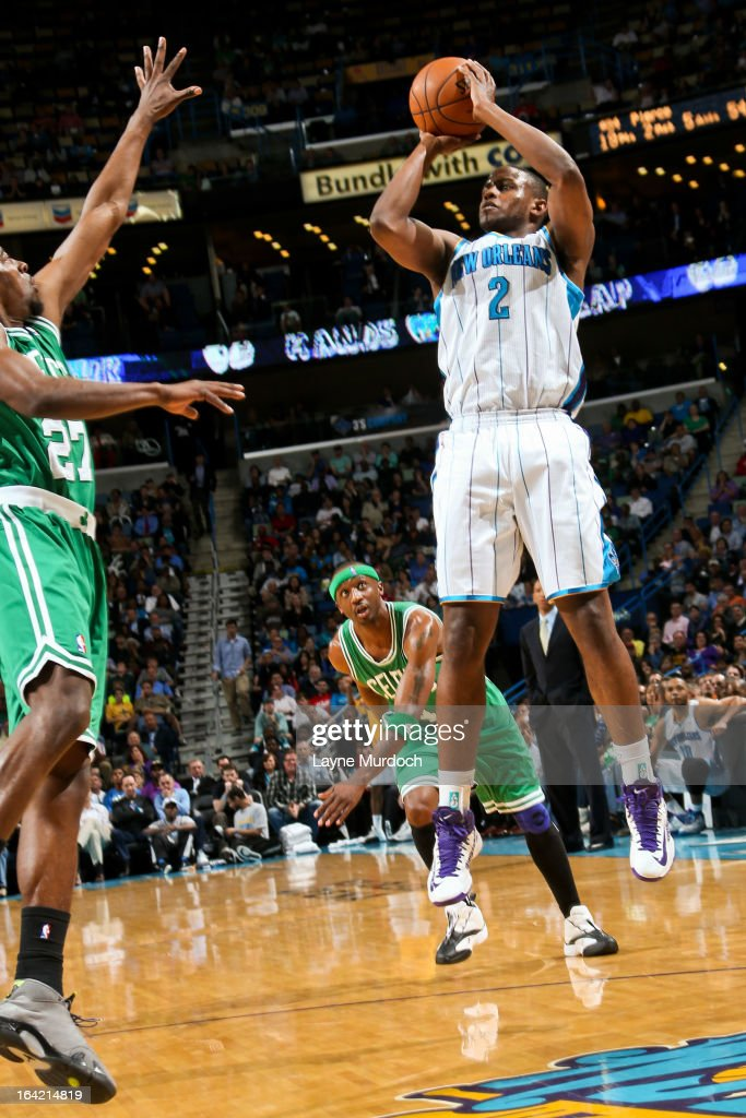 <a gi-track='captionPersonalityLinkClicked' href=/galleries/search?phrase=Darius+Miller&family=editorial&specificpeople=5590631 ng-click='$event.stopPropagation()'>Darius Miller</a> #2 of the New Orleans Hornets shoots against <a gi-track='captionPersonalityLinkClicked' href=/galleries/search?phrase=Jordan+Crawford&family=editorial&specificpeople=4779380 ng-click='$event.stopPropagation()'>Jordan Crawford</a> #27 of the Boston Celtics on March 20, 2013 at the New Orleans Arena in New Orleans, Louisiana.