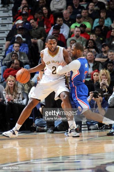 Darius Miller of the New Orleans Pelicans backs up to the basket against the Los Angeles Clippers during an NBA game on March 26 2014 at the Smoothie...