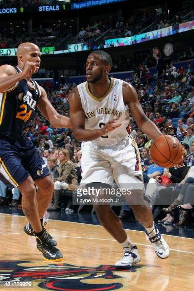 Darius Miller of the New Orleans Pelicans drives against the Utah Jazz on March 28 2014 at the Smoothie King Center in New Orleans Louisiana NOTE TO...