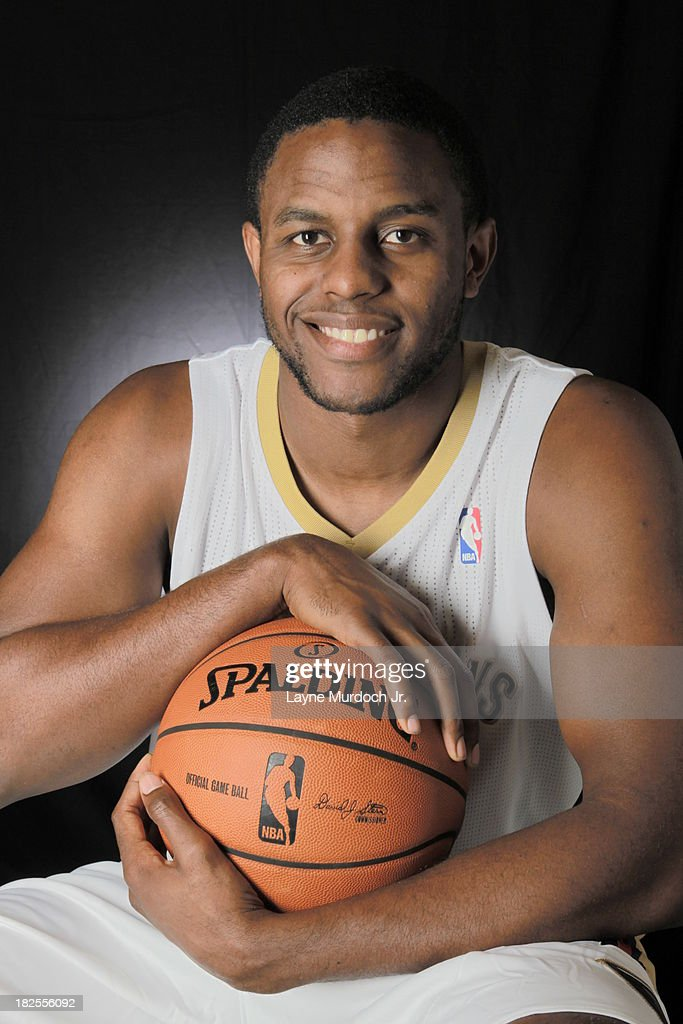 Darius Miller #2 of The New Orleans Pelicans pose for photos during NBA Media Day on September 30, 2013 at the New Orleans Pelicans practice facility in Metairie, Louisiana.