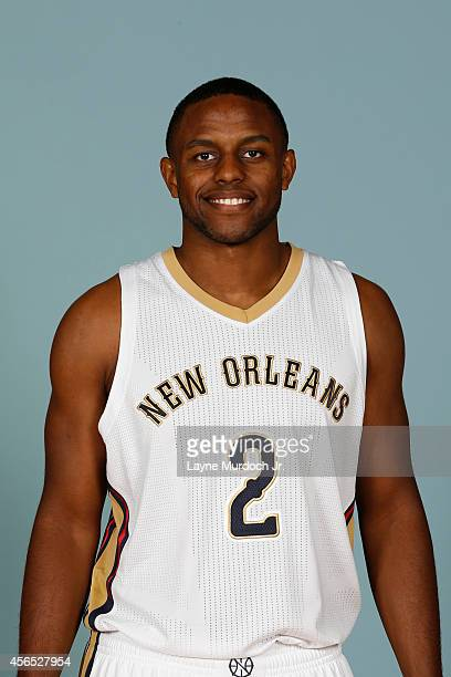Darius Miller of the New Orleans Pelicans poses for photos during NBA Media Day on September 29 2014 at the New Orleans Pelicans practice facility in...