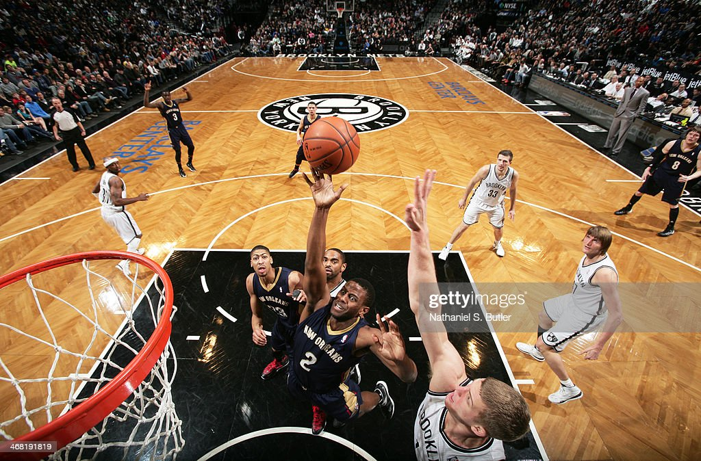 <a gi-track='captionPersonalityLinkClicked' href=/galleries/search?phrase=Darius+Miller&family=editorial&specificpeople=5590631 ng-click='$event.stopPropagation()'>Darius Miller</a> #2 of the New Orleans Pelicans shoots against the Brooklyn Nets during a game at the Barclays Center on February 9, 2014 in the Brooklyn borough of New York City.