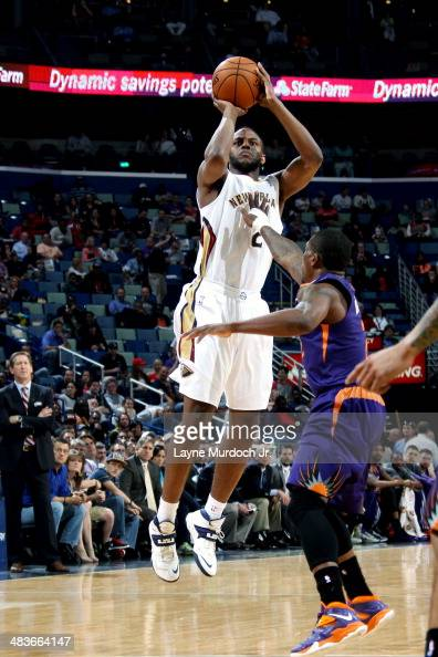 Darius Miller of the New Orleans Pelicans shoots against the Phoenix Suns on April 09 2014 at the Smoothie King Center in New Orleans Louisiana NOTE...