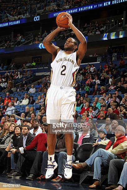 Darius Miller of the New Orleans Pelicans shoots the ball against the Oklahoma City Thunder during an NBA game on December 6 2013 at the New Orleans...
