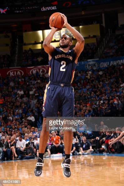 Darius Miller of the New Orleans Pelicans takes a shot against the Oklahoma City Thunder on April 11 2014 at the Chesapeake Energy Arena in Oklahoma...