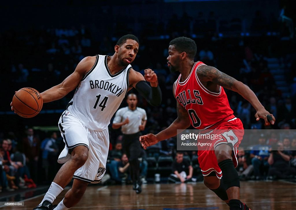 Darius Morris of Brooklyn Nets in action against Aaron Brooks of Chicago Bulls during NBA game between Brooklyn Nets and Aaron Brooks at Barclays...