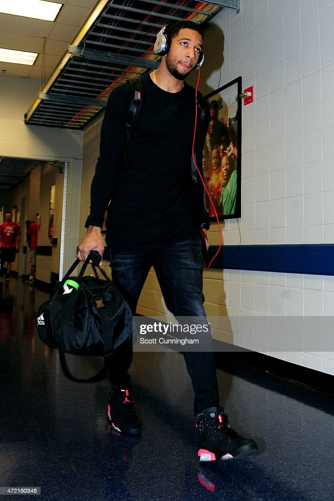 Darius Morris of the Brooklyn Nets arrives at the arena before a game against the Atlanta Hawks in Game Five of the Eastern Conference Quarterfinals...