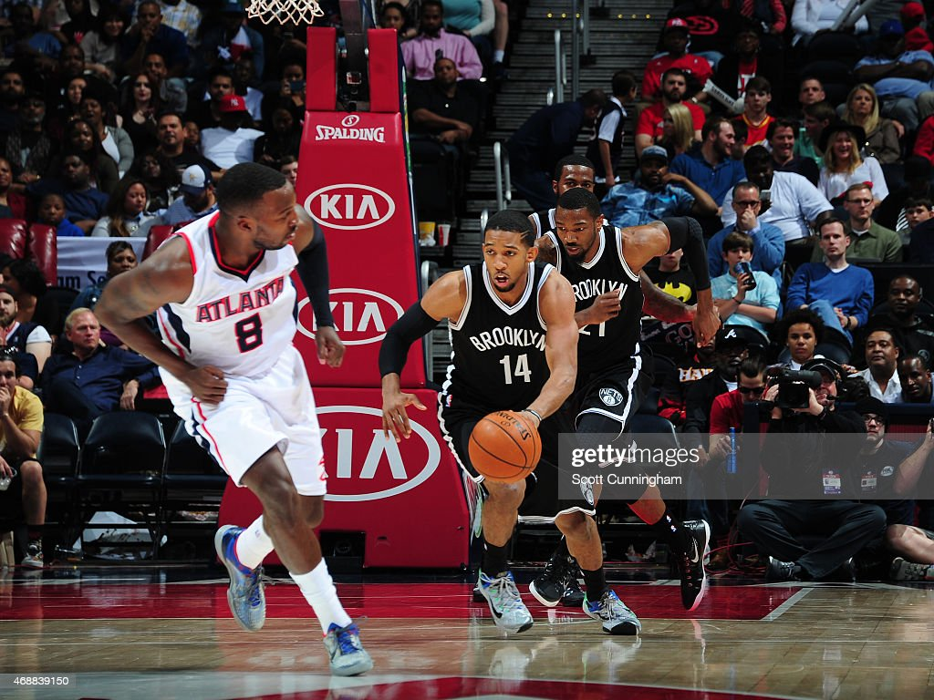 Darius Morris of the Brooklyn Nets drives against the Atlanta Hawks on April 4 2015 at Philips Arena in Atlanta Georgia NOTE TO USER User expressly...