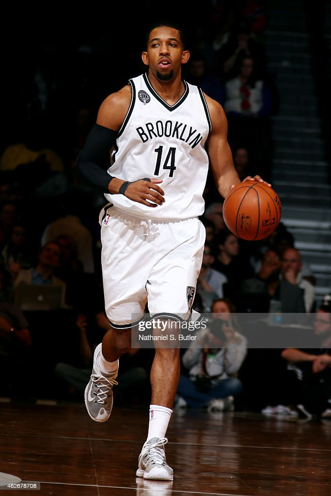 Darius Morris of the Brooklyn Nets drives against the Los Angeles Clippers at the Barclays Center on February 2 2015 in in the Brooklyn borough of...