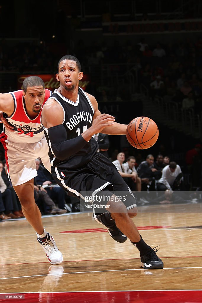 Darius Morris of the Brooklyn Nets drives against the Washington Wizards on January 16 2015 at Verizon Center in Washington DC NOTE TO USER User...