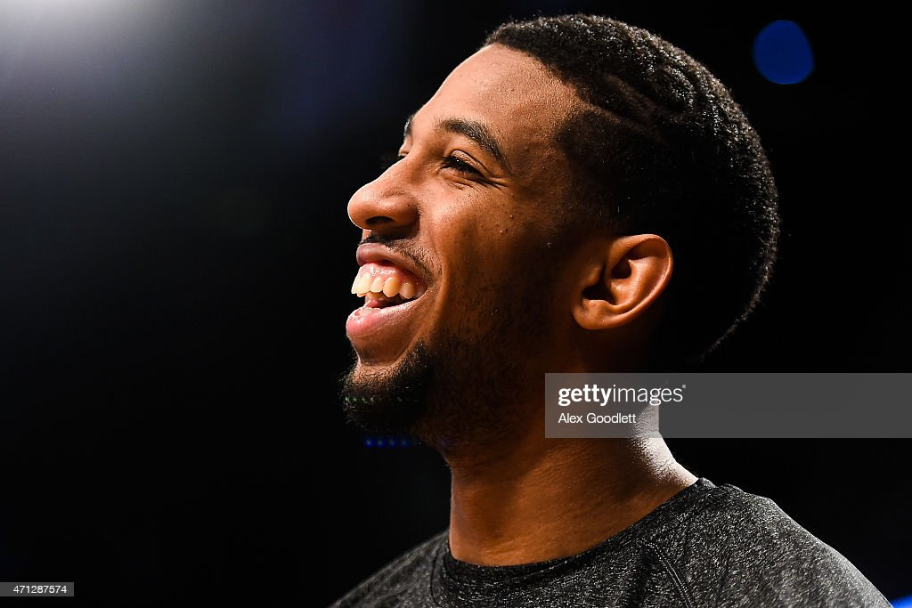 Darius Morris of the Brooklyn Nets looks on during the first round of the 2015 NBA Playoffs against the Atlanta Hawks at Barclays Center on April 25...