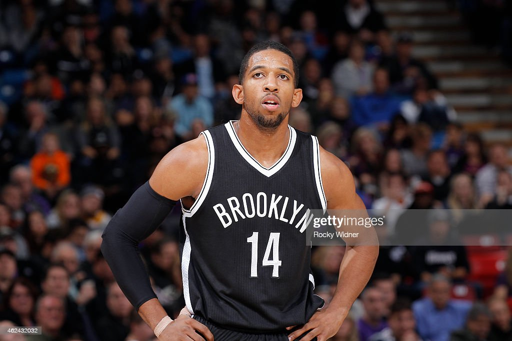 <a gi-track='captionPersonalityLinkClicked' href=/galleries/search?phrase=Darius+Morris+-+Basketball&family=editorial&specificpeople=9808418 ng-click='$event.stopPropagation()'>Darius Morris</a> #14 of the Brooklyn Nets looks on during the game against the Sacramento Kings on January 21, 2015 at Sleep Train Arena in Sacramento, California.
