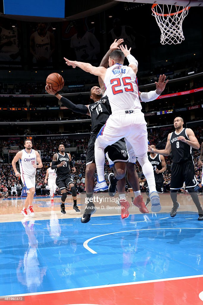 Darius Morris of the Brooklyn Nets shoots against the Los Angeles Clippers on January 22 2014 at STAPLES Center in Los Angeles California NOTE TO...