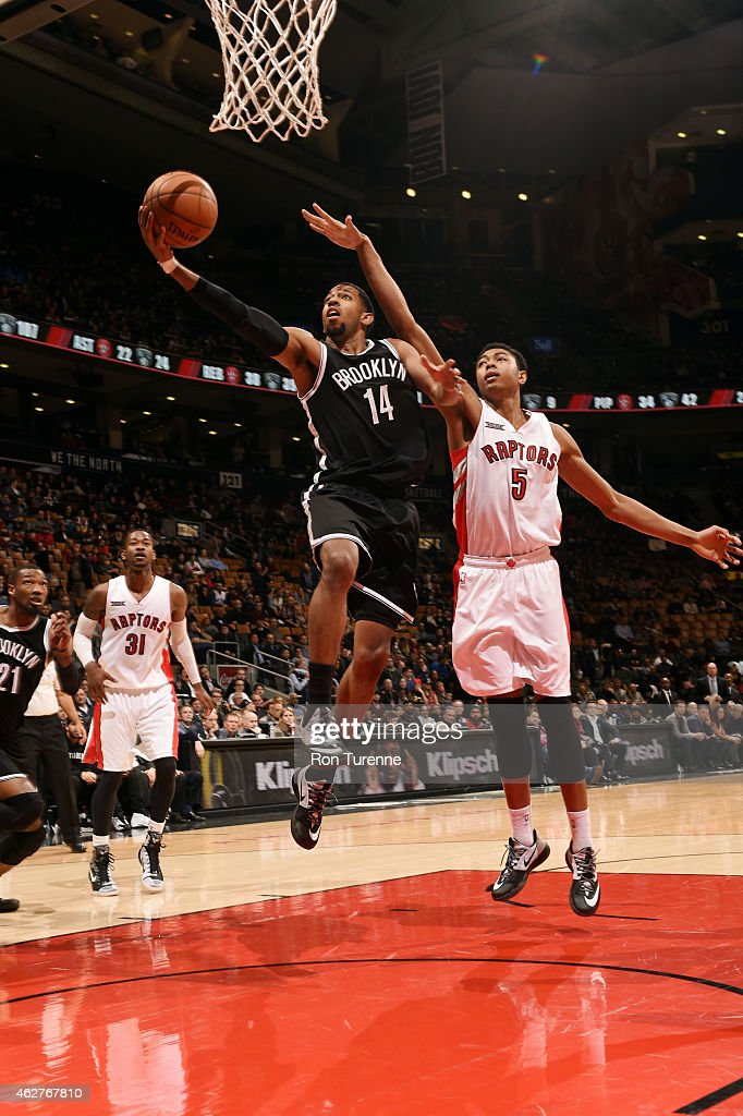 Darius Morris of the Brooklyn Nets shoots against the Toronto Raptors on February 4 2015 at the Air Canada Centre in Toronto Ontario Canada NOTE TO...