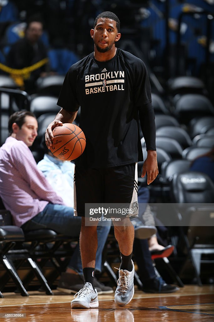 Darius Morris of the Brooklyn Nets warms up before the game against the Minnesota Timberwolves on March 16 2015 at Target Center in Minneapolis...