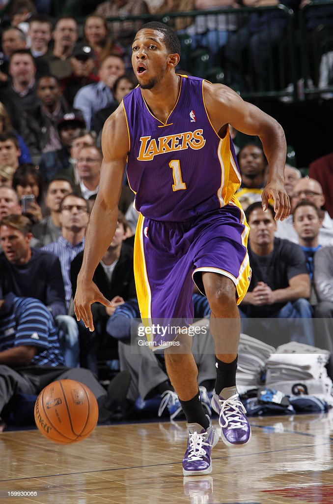 Darius Morris #1 of the Los Angeles Lakers brings the ball up court against the Dallas Mavericks on November 24, 2012 at the American Airlines Center in Dallas, Texas.