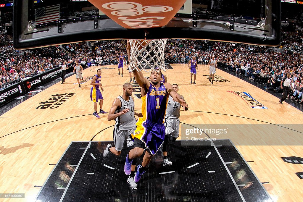 Darius Morris #1 of the Los Angeles Lakers drives to the basket on a fast break against the San Antonio Spurs in Game Two of the Western Conference Quarterfinals during the 2013 NBA Playoffs on April 24, 2013 at the AT&T Center in San Antonio, Texas.