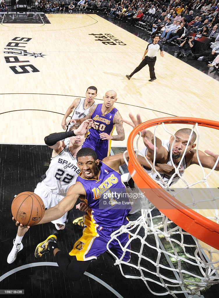 Darius Morris #1 of the Los Angeles Lakers goes to the basket during the game between the Los Angeles Lakers and the San Antonio Spurs on January 9, 2013 at the AT&T Center in San Antonio, Texas.