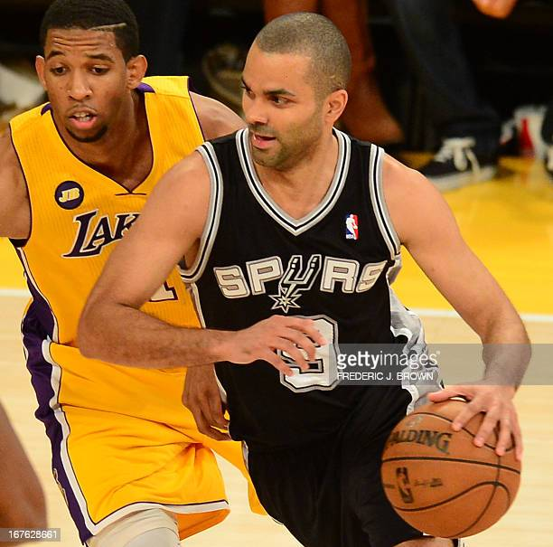 Darius Morris of the Los Angeles Lakers guards Tony Parker of the San Antonio Spurs during Game Three of the NBA Western Conference Quarterfinals...