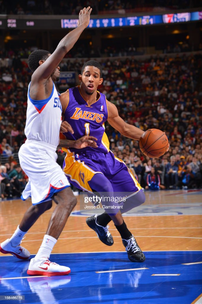 Darius Morris #1 of the Los Angeles Lakers handles the ball against the Philadelphia 76ers on December 16, 2012 at the Wells Fargo Center in Philadelphia, Pennsylvania.
