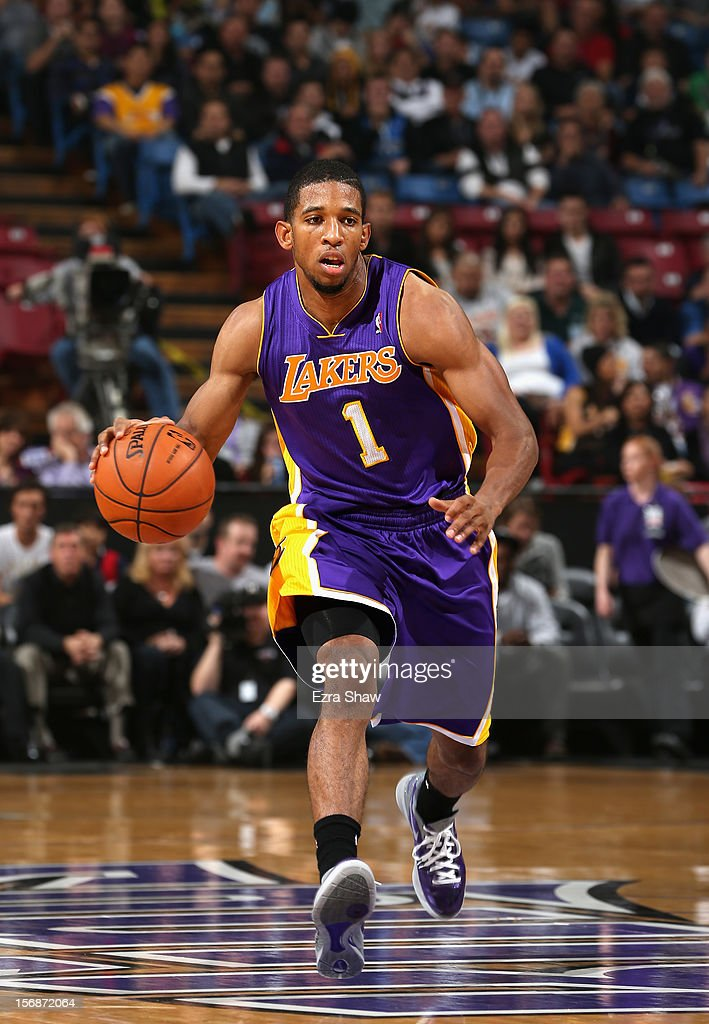 Darius Morris #1 of the Los Angeles Lakers in action against the Sacramento Kings at Power Balance Pavilion on November 21, 2012 in Sacramento, California.