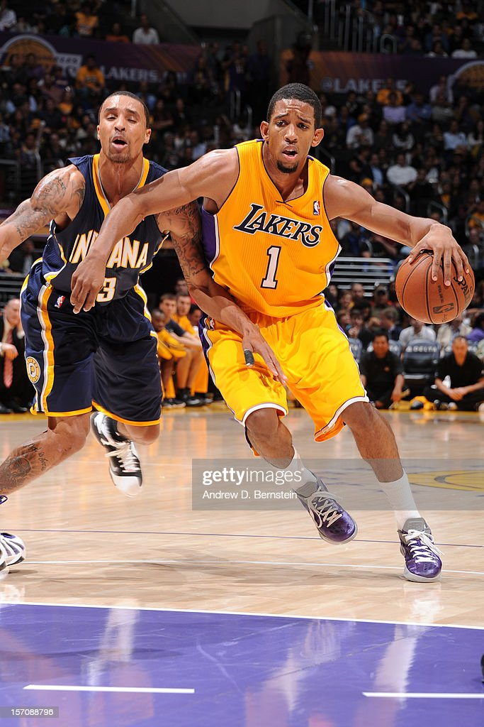 Darius Morris #1 of the Los Angeles Lakers moves the ball against the Indiana Pacers at Staples Center on November 27, 2012 in Los Angeles, California.