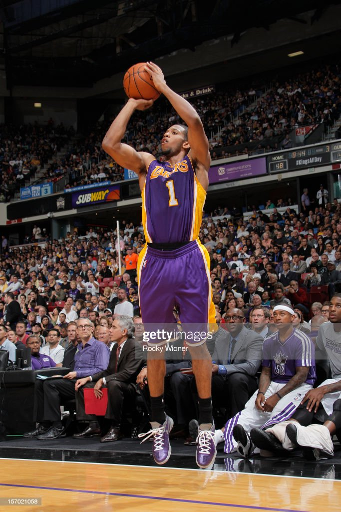 Darius Morris #1 of the Los Angeles Lakers shoots a three pointer against the Sacramento Kings on November 21, 2012 at Sleep Train Arena in Sacramento, California.