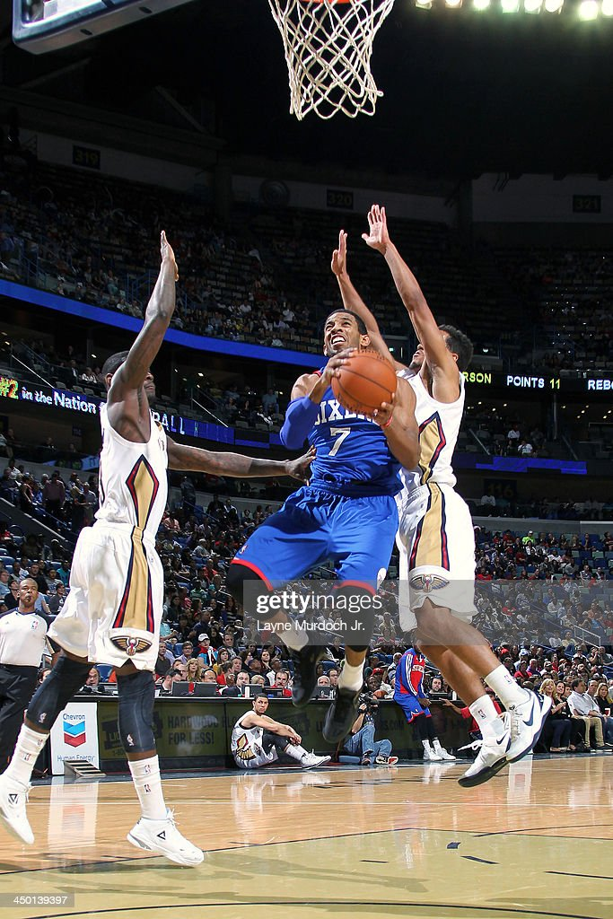 Darius Morris #7 of the Philadelphia 76ers drives to the basket against the New Orleans Pelicans on November 16, 2013 at the New Orleans Arena in New Orleans, Louisiana.